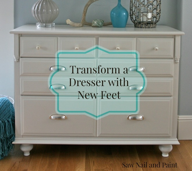White dresser with feet label