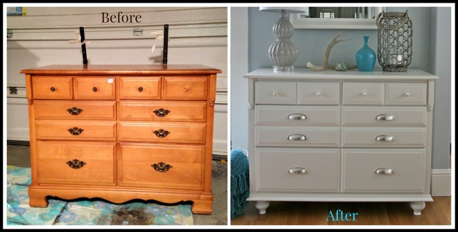 Whtie dresser before and after