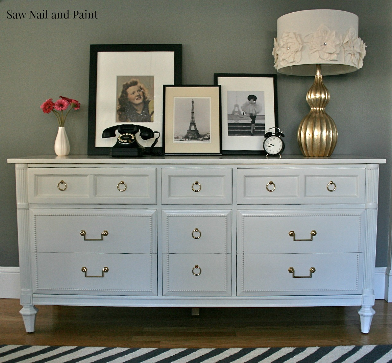 antique white thomasville dresser saw nail and paint. Black Bedroom Furniture Sets. Home Design Ideas
