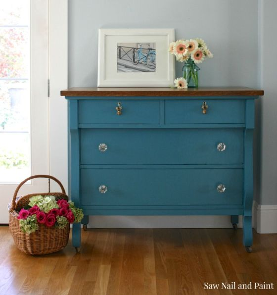 Calypso Blue Empire Dresser 2 Saw Nail and Paint